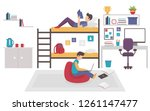 dormitory room with two teen... | Shutterstock .eps vector #1261147477