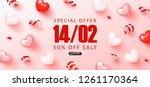 valentine's day sale background.... | Shutterstock .eps vector #1261170364