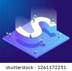 isometric creative font. letter ...   Shutterstock .eps vector #1261172251