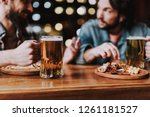 close up of male hand with mug...   Shutterstock . vector #1261181527