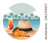 panama hat with cocktail | Shutterstock .eps vector #1261193617