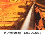 the rails turn  the rails and...   Shutterstock . vector #1261202017
