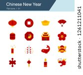 chinese new year icons. flat...