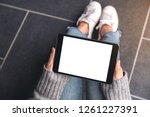 top view mockup image of woman... | Shutterstock . vector #1261227391