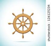 Wooden Ship Wheel. Vector...