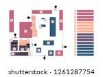 vector editable map or floor... | Shutterstock .eps vector #1261287754