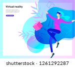 man and woman wearing virtual... | Shutterstock .eps vector #1261292287