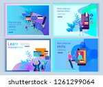 set of landing page templates... | Shutterstock .eps vector #1261299064