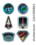 vector set of space missions... | Shutterstock .eps vector #1261300861