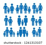 family blue icons set | Shutterstock .eps vector #1261313107