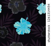 dark and blue tropical flowers... | Shutterstock .eps vector #1261314454