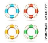 lifebuoy set isolated on white... | Shutterstock .eps vector #1261314544