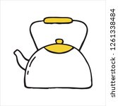 handdrawn kettle doodle icon.... | Shutterstock .eps vector #1261338484