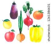 watercolor painted vegetables... | Shutterstock . vector #1261386631