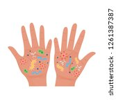 dirty hands with germs.vector... | Shutterstock .eps vector #1261387387
