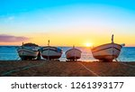 fishing boats in the... | Shutterstock . vector #1261393177