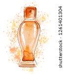 hand drawn sketch with orange...   Shutterstock . vector #1261401304
