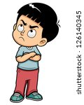 illustration of Angry teenage boy