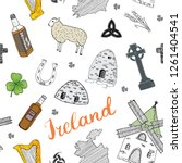 ireland sketch doodles seamless ... | Shutterstock . vector #1261404541