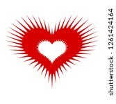 spiked heart icon. simple...   Shutterstock . vector #1261424164