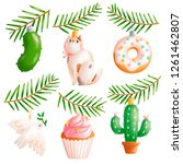awesome christmas tree toys... | Shutterstock . vector #1261462807