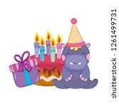 cute and little hippo with... | Shutterstock .eps vector #1261499731