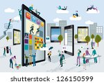 a team of people work... | Shutterstock .eps vector #126150599