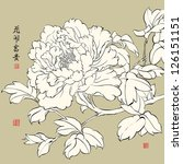chinese peony. translation  the ... | Shutterstock . vector #126151151