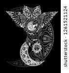 ornate occult spiritual symbols ... | Shutterstock .eps vector #1261521124