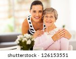 pretty woman and senior mother...   Shutterstock . vector #126153551