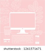 women workspace. desktop... | Shutterstock .eps vector #1261571671