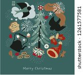 christmas tree and birds.winter ...   Shutterstock .eps vector #1261577581