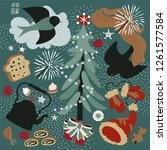 christmas tree and birds.winter ...   Shutterstock .eps vector #1261577584