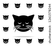 blush cat icon. cat smile icons ... | Shutterstock . vector #1261578244