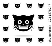 grin cat icon. cat smile icons... | Shutterstock . vector #1261578247