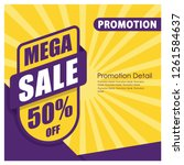 mega sale banner and poster. 50 ... | Shutterstock .eps vector #1261584637