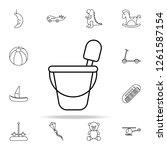 bucket and spatula line icon.... | Shutterstock . vector #1261587154