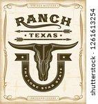 vintage western ranch label... | Shutterstock . vector #1261613254