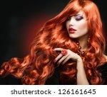 Red Hair. Fashion Girl Portrai...