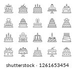 cake dessert thin line icon set.... | Shutterstock .eps vector #1261653454
