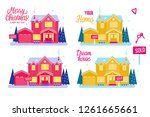 set flat house two story... | Shutterstock .eps vector #1261665661