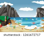 a dirty beach pollution... | Shutterstock .eps vector #1261672717