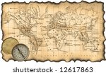 ancient map of the world. the... | Shutterstock . vector #12617863