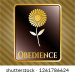 gold shiny emblem with flower... | Shutterstock .eps vector #1261786624