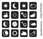 sun and moon icons. grunge... | Shutterstock .eps vector #1261795534