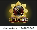 gold shiny badge with key icon ... | Shutterstock .eps vector #1261803547
