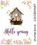 watercolor spring premade card... | Shutterstock . vector #1261804687
