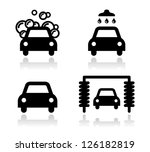 car wash icons set   vector | Shutterstock .eps vector #126182819