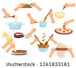hands preparing food  process... | Shutterstock .eps vector #1261833181