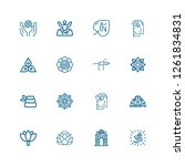 editable 16 lotus icons for web ... | Shutterstock .eps vector #1261834831